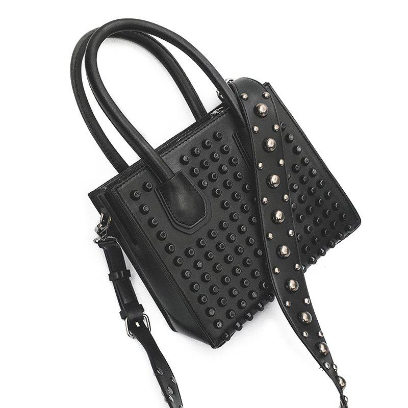 PU Leather Rivets Convertible Totes - Noir