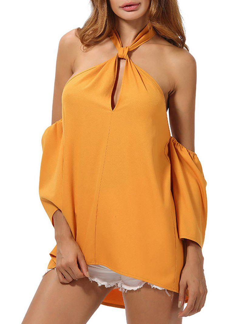 Cold Shoulder Backless High Low Top - DEEP YELLOW 2XL