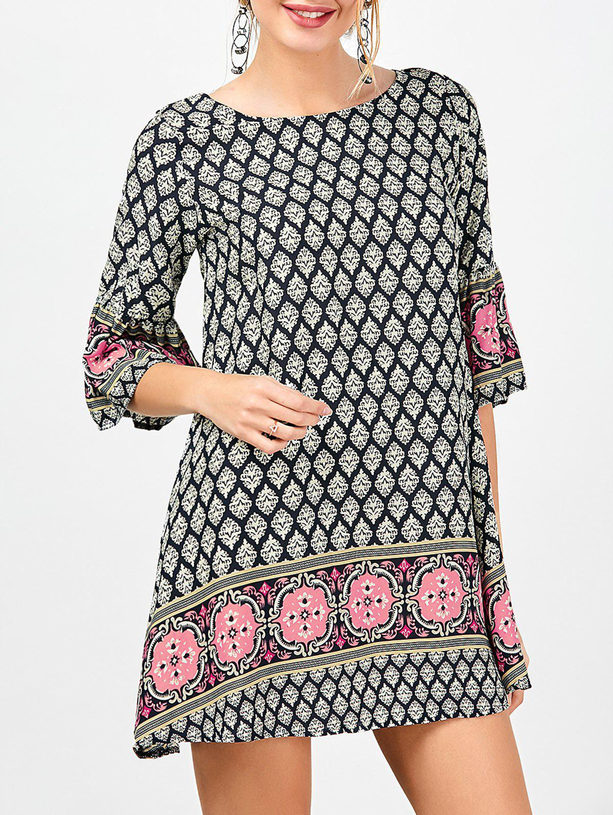 Printed Criss-Cross Mini Bohemian Dress - COLORMIX S