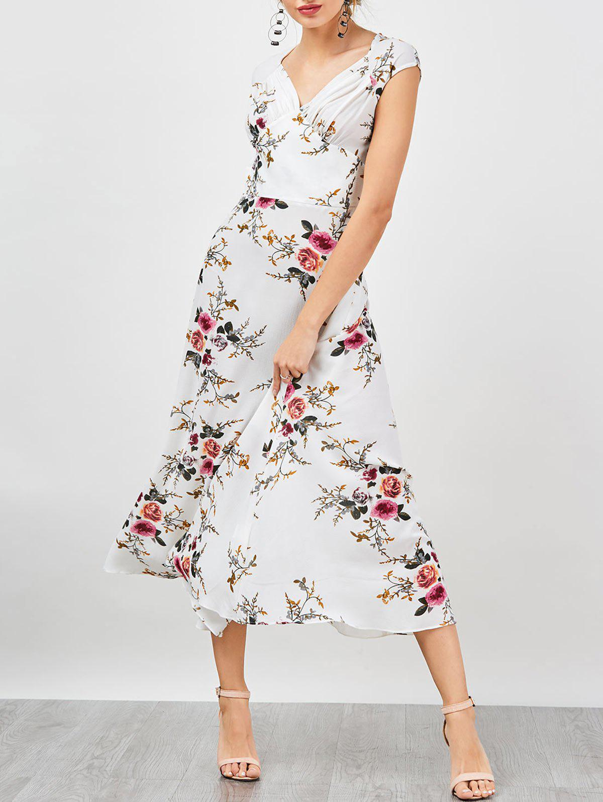 Empire Waist Tiny Floral Bohemian Dress - Blanc L
