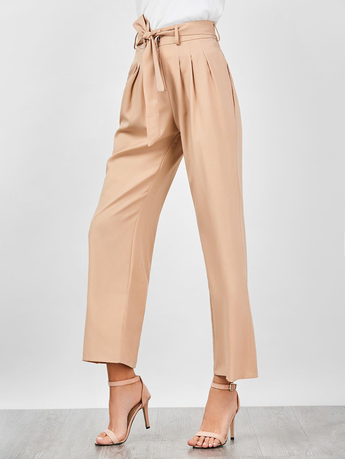 High Waisted Belted Wide Leg Pants - APRICOT XL