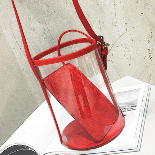 Transparent Bucket Bag and Pouch Bag - RED