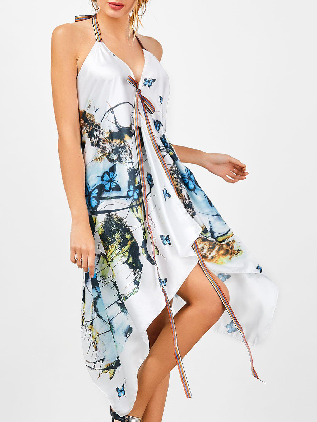 Halter Butterfly Print Handkerchief Dress - COLORMIX ONE SIZE