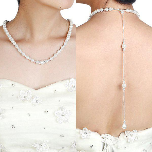 Rhinestone Artificial Pearl Beaded Backdrop Necklace rhinestone artificial pearl conch necklace