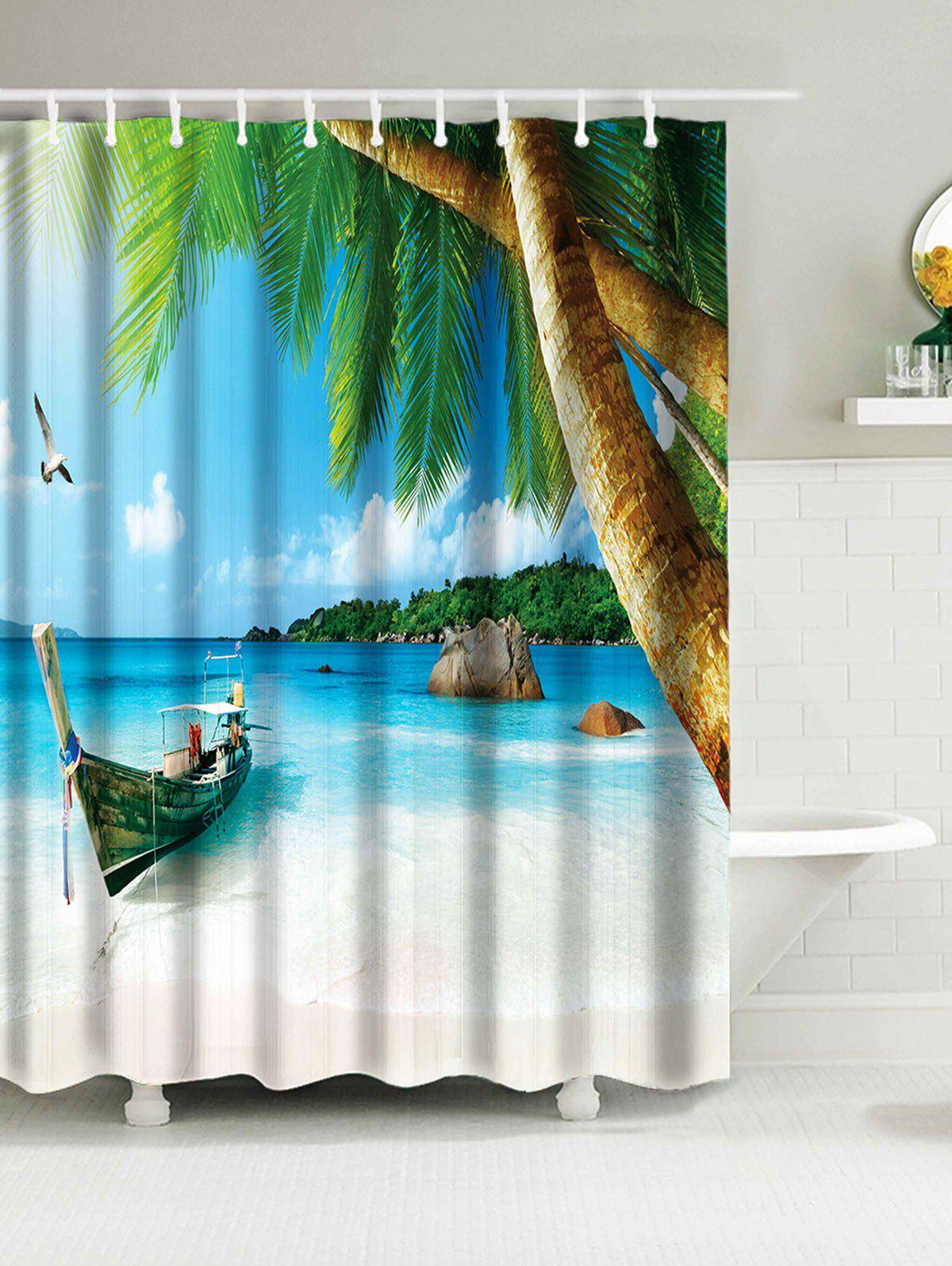 Beach Window Curtains Part - 48: Hawaii Beach Print Waterproof Bathroom Shower Curtain - SKY BLUE W59 INCH *  L71 INCH