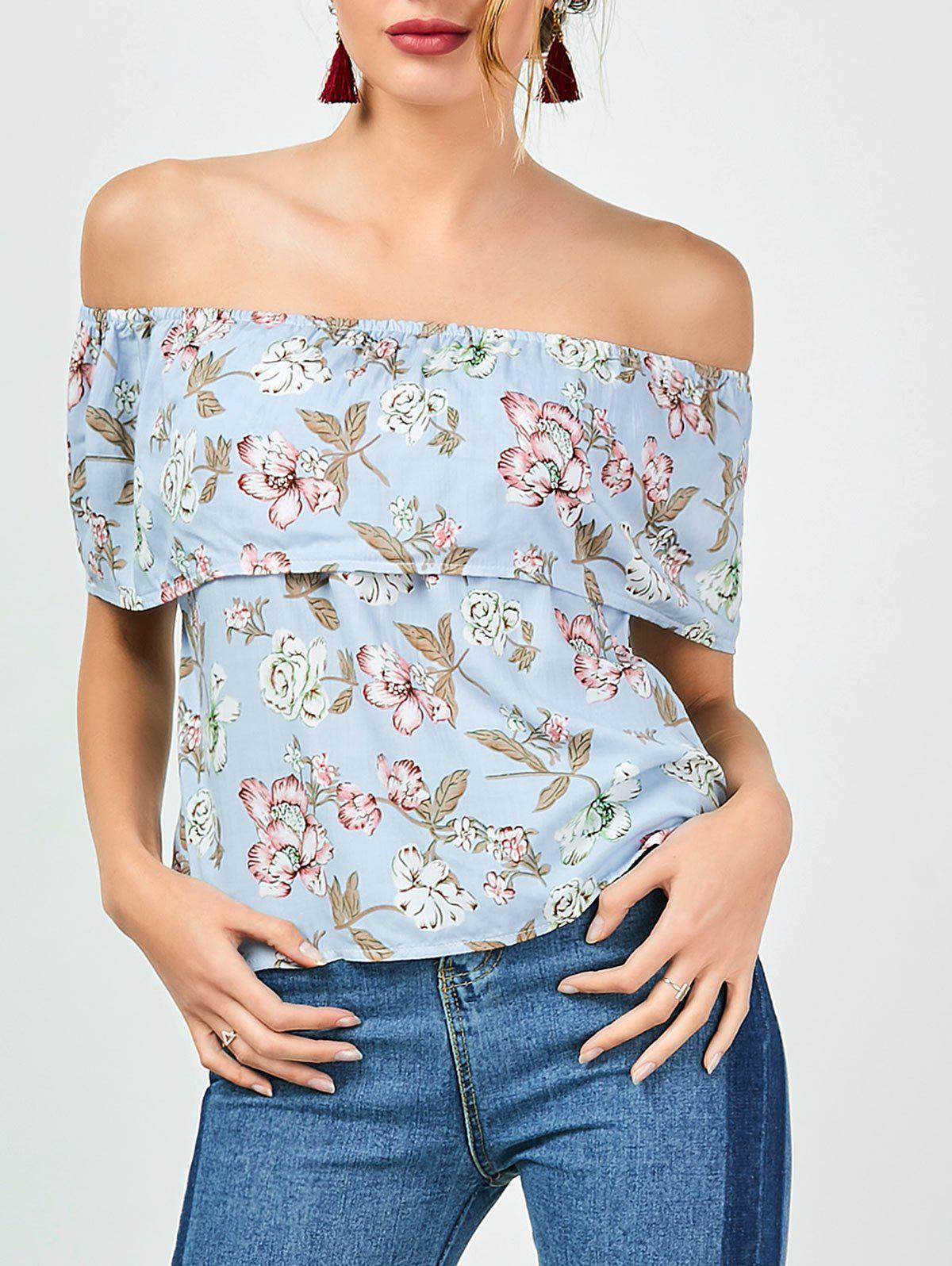 Off The Shoulder Ruffle Floral Top - LIGHT BLUE M