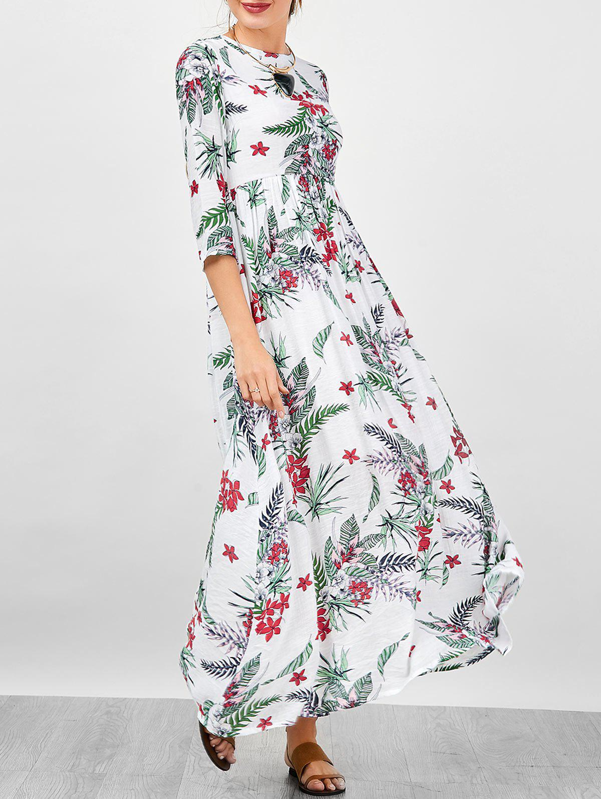 Robe à rayures florales - Blanc S