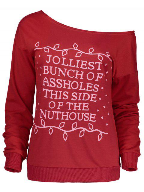 Christmas Letter Print Skew Neck Sweatshirt - RED M