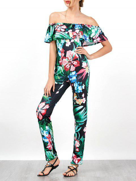 Palm Floral Print Off Shoulder Flounce Jumpsuit - BLACK L