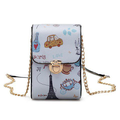 Print Chain Mini Crossbody Bag - GRAY