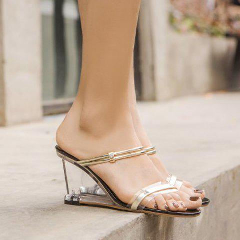 Metal Detail Transparent Slides Strange Heel Sandals - GOLDEN 37