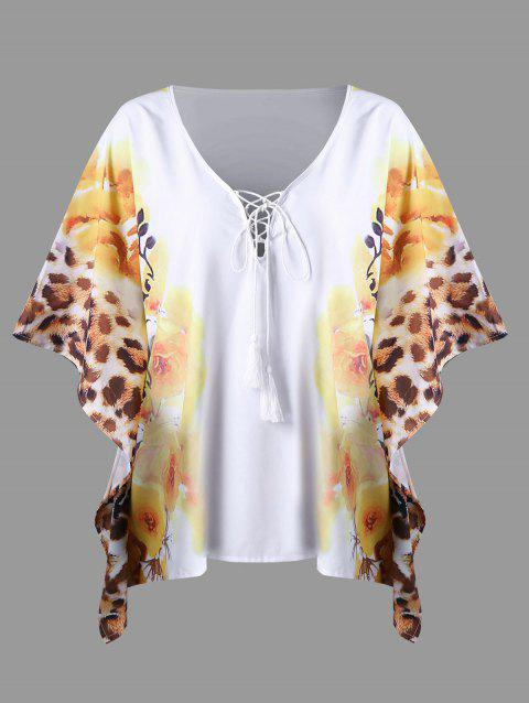 Plus Size Butterfly Sleeve Floral Top - WHITE 4XL