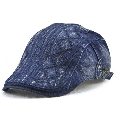 Stripe Rhombic Checked Embroidery Newsboy Hat - DENIM BLUE