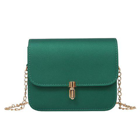 Chain Push Lock Cross Body Bag - GREEN