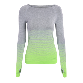 Running Ombre Yoga Long Sleeve Gym Top - GREEN S