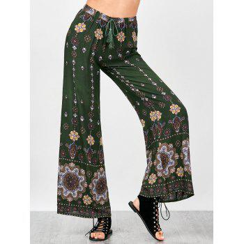 Drawstring Bohemian Wide Leg Pants
