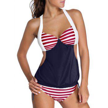Halter Hit Color Striped Tankini Set