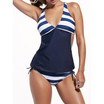 Striped Plunging Neck Tankini Set