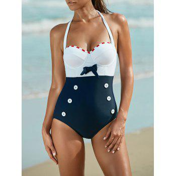 Halter Cut Out Hit Color One Piece Swimwear