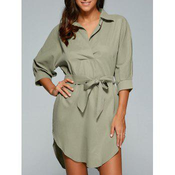 Bowknot 3/4 Sleeve Shirt Dress