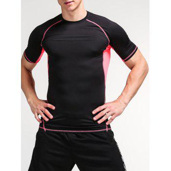 Color Block Openwork Panel Fitness T-Shirt