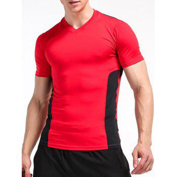 Color Block Openwork Panel Stretchy Fitness T-Shirt