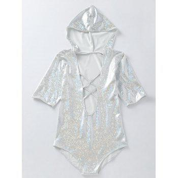 Half Sleeve Holographic Fabric Plunging Hooded Swimsuit