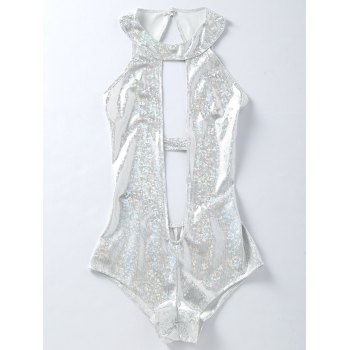 One Piece Plunging Backless Holographic Fabric Swimsuit