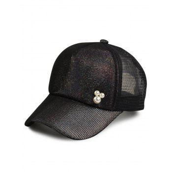Twinkling Mesh Splicing Artificial Pearl Baseball Hat