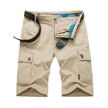 Zip Fly Buttoned Pockets Cargo Shorts