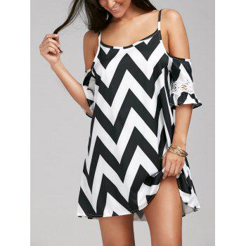 Stylish Women's Spaghetti Strap Zig Zag Lace Splicing Off-The-Shoulder Dress