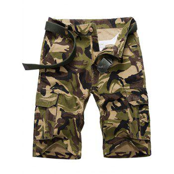 Multi Flap Pockets Camo Cargo Shorts