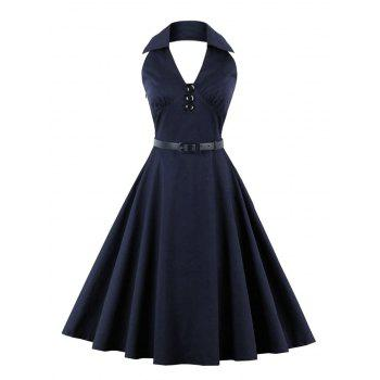 Vintage Buttoned Backless Skater Dress