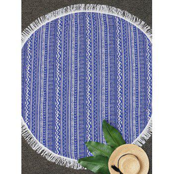 Geometric Fringe Round Beach Throw