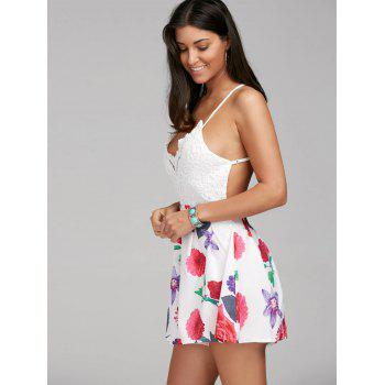 Sexy V-Neck Sleeveless Floral Print Backless Women's Romper - COLORMIX M