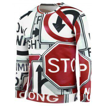 3D Prohibit Street Signs Hip Pop Graphic Sweatshirts