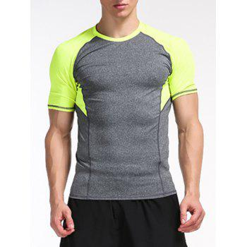 Stretchy Color Block Panel Raglan Sleeve Fitness T-Shirt
