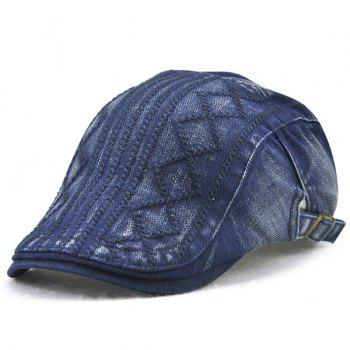 Stripe Rhombic Checked Embroidery Newsboy Hat