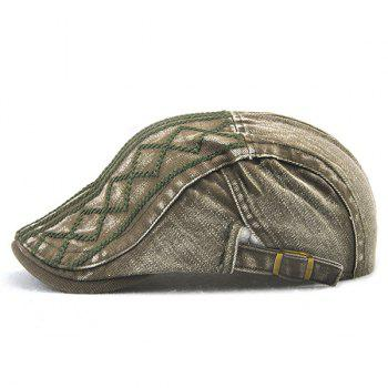 Stripe Rhombic Checked Embroidery Newsboy Hat - ARMY GREEN