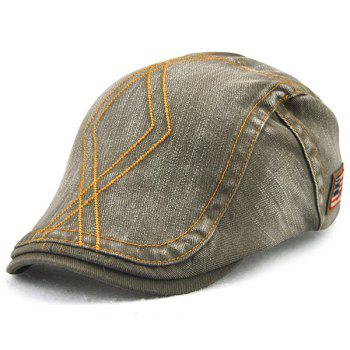 Nostalgic Denim Flat Cap with Rhombic Embroidery