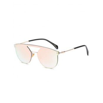 Invisible Frame Hollow Out Crossbar Mirrored Sunglasses