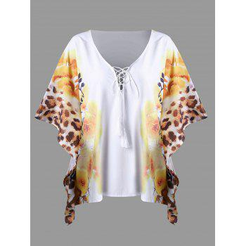 Butterfly Sleeve Lace Up Floral Leopard T-Shirt