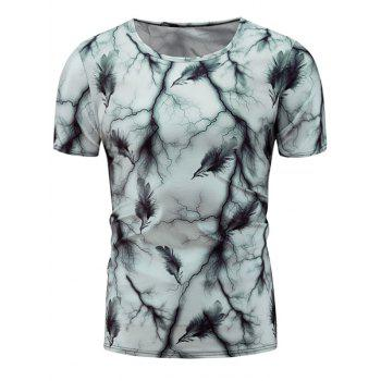 Feather Tie Dye Print Short Sleeve T-Shirt
