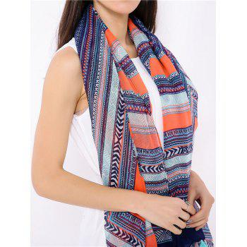 Geometrical Pattern Boho Wrap Scarf with Tassels