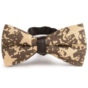 Pentagram Printing Denim Layered Bow Tie - YELLOW YELLOW