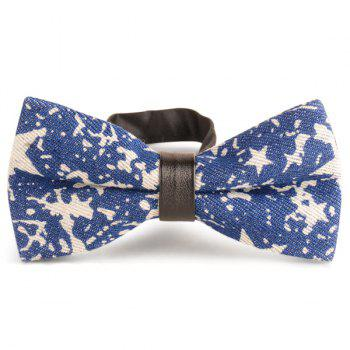 Pentagram Printing Denim Layered Bow Tie - ROYAL ROYAL