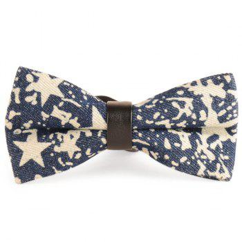 Pentagram Printing Denim Layered Bow Tie - CADETBLUE CADETBLUE