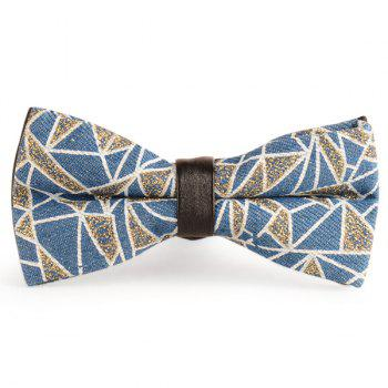 Layer Denim Geometric Pattern Bow Tie