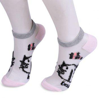 Glass Silk Cartoon Kitten Lettes Embroidered Socks - SHALLOW PINK SHALLOW PINK