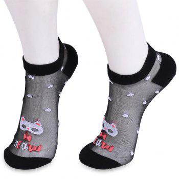 Tiny Heart Cartoon Kitten Glass Silk Socks